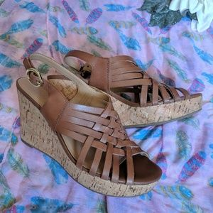 Caramel Brown Leather Weave Cork Wedge Sandals
